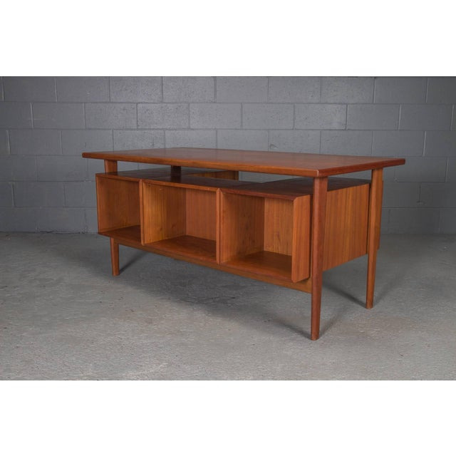 Danish Teak Desk With Floating Top by Kai Kristensen For Sale - Image 10 of 10