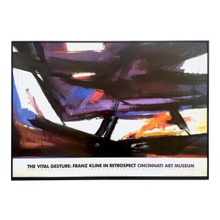 "Franz Kline Rare Vintage 1985 Abstract Expressionist Lithograph Print Framed Exhibition Poster "" Andrus "" 1961 For Sale"