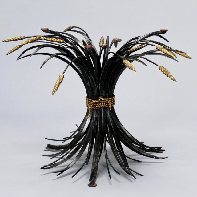 Metal Italian Black and Gilt Wheat Sheaf Table With Glass Top For Sale - Image 7 of 8