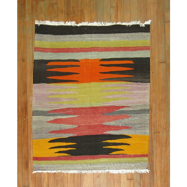 1950s Vintage Turkish Kilim Flat-Weave, 3'4'' X 3'9'' For Sale - Image 5 of 5