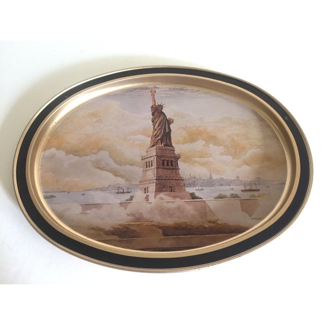 "This vintage 1985 "" Statue of Liberty "" Collector's limited edition lithograph Sunshine Biscuit oval tin serving tray is a..."