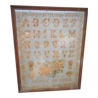 1934 French Wool Needlepoint Floral Alphabet Sampler, Framed For Sale