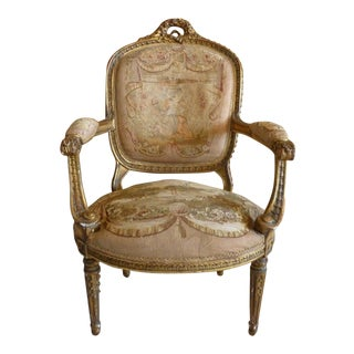 Heavily Carved French Louis Style Tapestry Bergere Chair For Sale