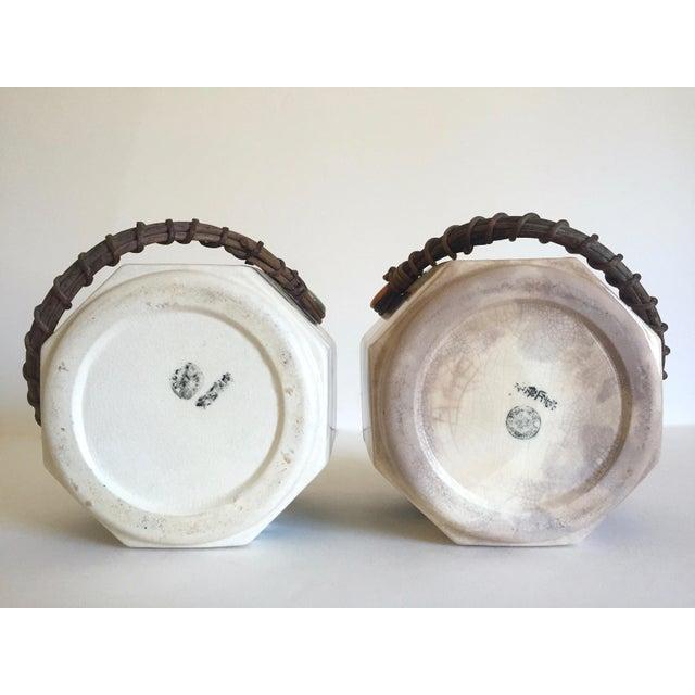 Rare Vintage 1930's Art Deco Japan Hand Painted Porcelain Handled Ceramic Biscuit Barrel Jars - Set of 2 For Sale - Image 12 of 13