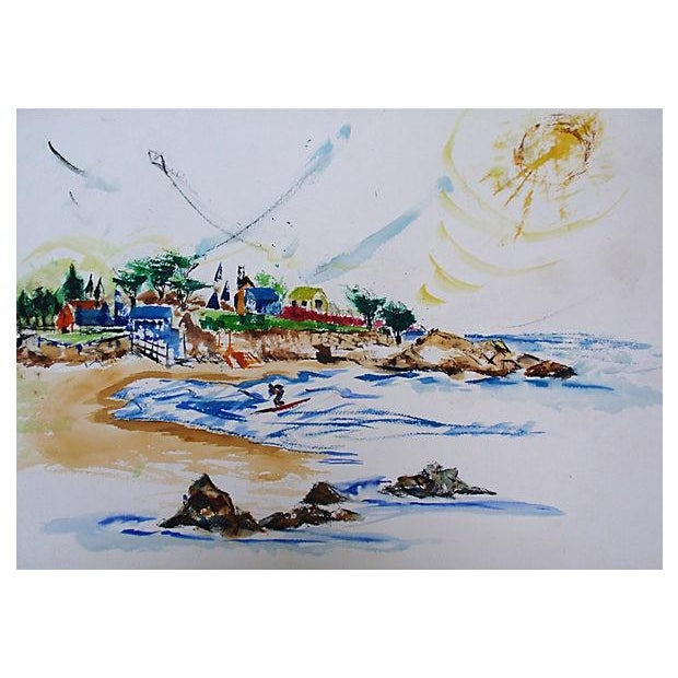 Vintage Laguna Beach Cove Watercolor Painting - Image 1 of 3