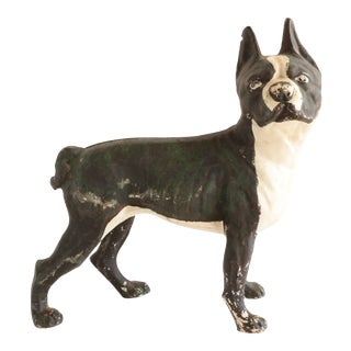 Antique Cast Iron Boston Terrier Dog Door Stop For Sale