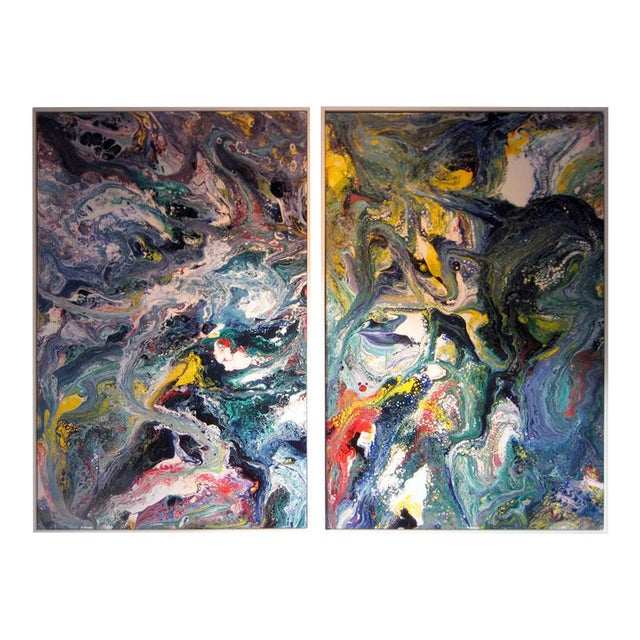A Pair of Abstract Compositions by California Artist Richard Mann For Sale