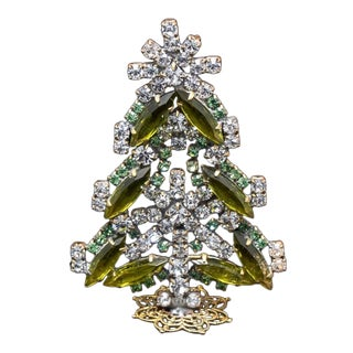 Small Vintage Czech Crystal and Rhinestone Table Top Mantle Christmas Tree For Sale