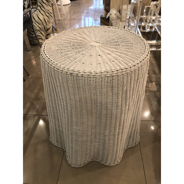 White Vintage Draped Wicker Rattan Trompe L Oeil Side End Table Lacquered in Your Choice of Color For Sale - Image 8 of 9