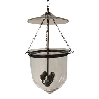 Large Pendant Glass Fixture With 4-Light Cluster