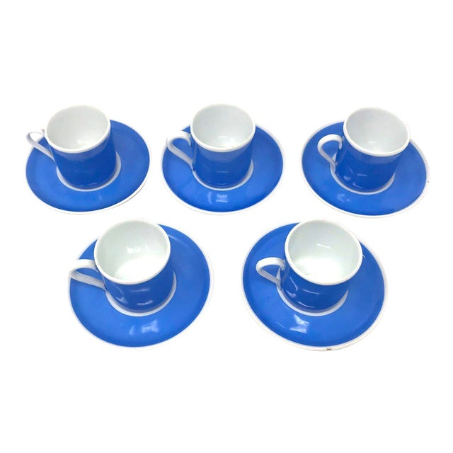 Set of Five Vintage Czechoslovakian Espresso Cups With Saucers For Sale