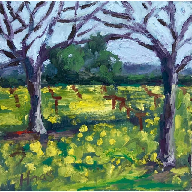 Wood Suisun Valley Mustard Grass Original Landscape Oil Painting For Sale - Image 7 of 12
