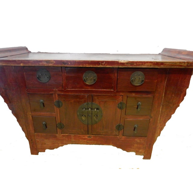 Antique Chinese Altar Table Bat (FU) Chest with amazing carved wood accents. Metal Drawer Pulls and hinges , Made of Solid...