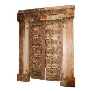 18c Antique Doors Frame Distressed Blush Teak Door For Sale