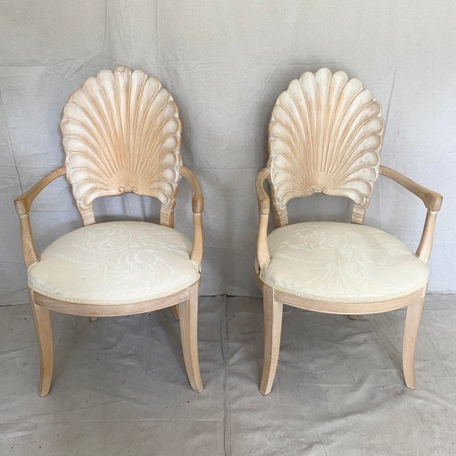 Vintage Carved Back Shell Chairs- Set of 6 For Sale - Image 4 of 13