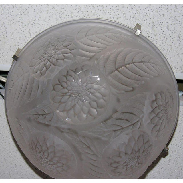 "Contemporary Lalique ""Dahlias"" Ceiling Fixture For Sale - Image 3 of 5"