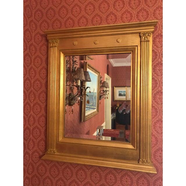 Art Nouveau Burnished Gold Gilt Wood Beveled Mirror For Sale - Image 3 of 10