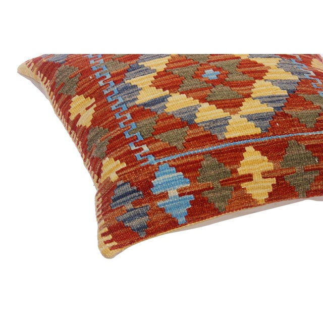 "Clare Rust/Lt. Blue Hand-Woven Kilim Throw Pillow(18""x18"") For Sale - Image 4 of 6"