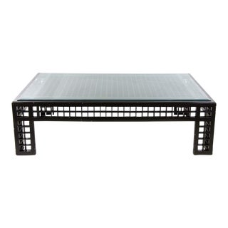 Contemporary Glass Inset Lattice Form Coffee Table For Sale