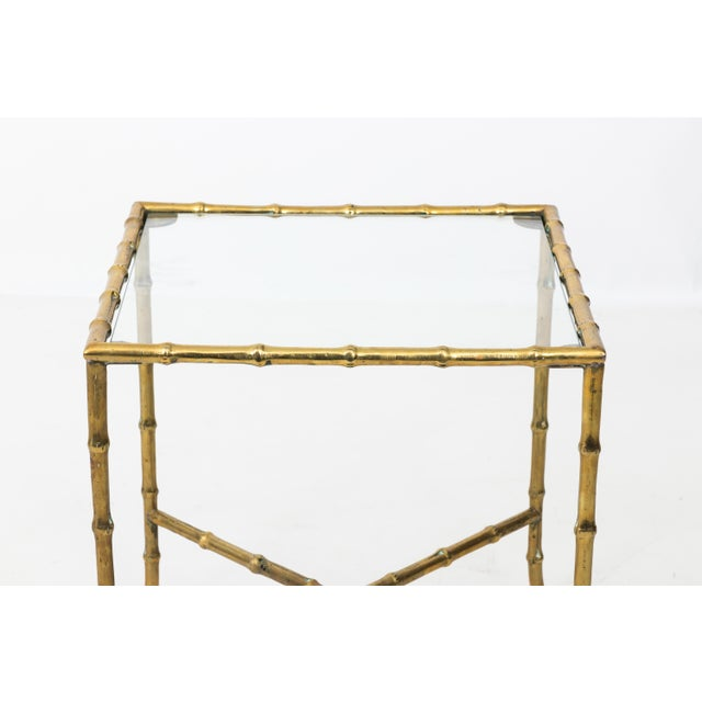 Gold 1960s Hollywood Regency Solid Brass Faux Bamboo Side Table For Sale - Image 8 of 11