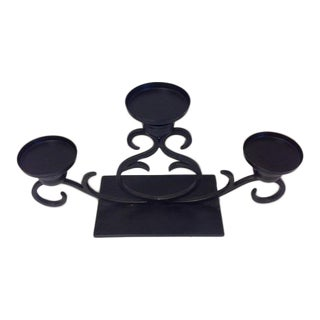 Black Iron Candelabra Centerpiece For Sale