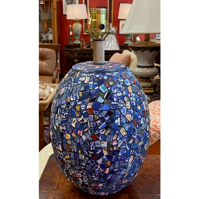 Boho Chic 1990s Broken China Mosaic Lamps - a Pair For Sale - Image 3 of 13