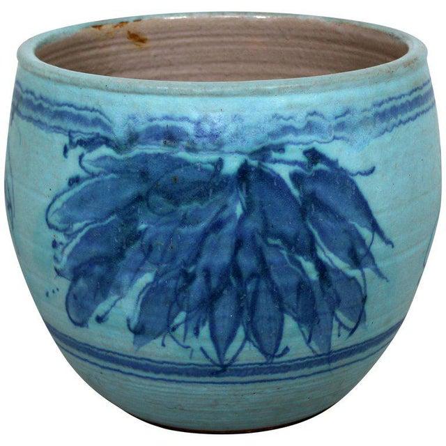 Blue Mid-Century Modern Blue Glazed Ceramic Pot Signed j.t Abernathy, 1960s For Sale - Image 8 of 8