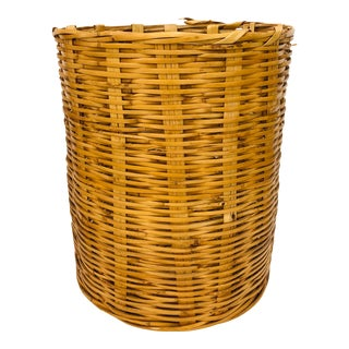 Vintage Natural Woven Wicker Hamper Basket For Sale