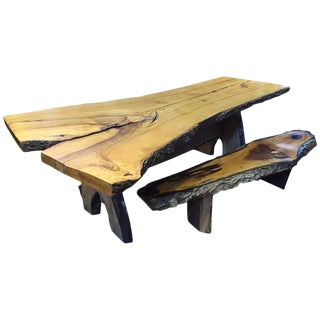 Handmade Live Edge Dining Table & Benches - Set of 3 For Sale