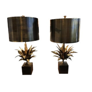 Pair of Gilded Lamp in Brass by Maison Charles - France For Sale