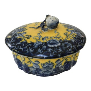 Late 20th Century Vintage Ceramic Blue & Yellow Box For Sale