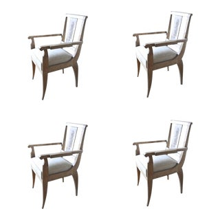 Andre Arbus Set of 4 Cerused Oak Armchairs For Sale