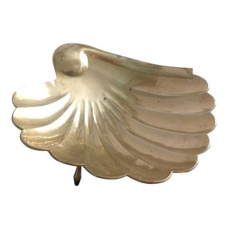 Vintage Shell Dish Solid Brass
