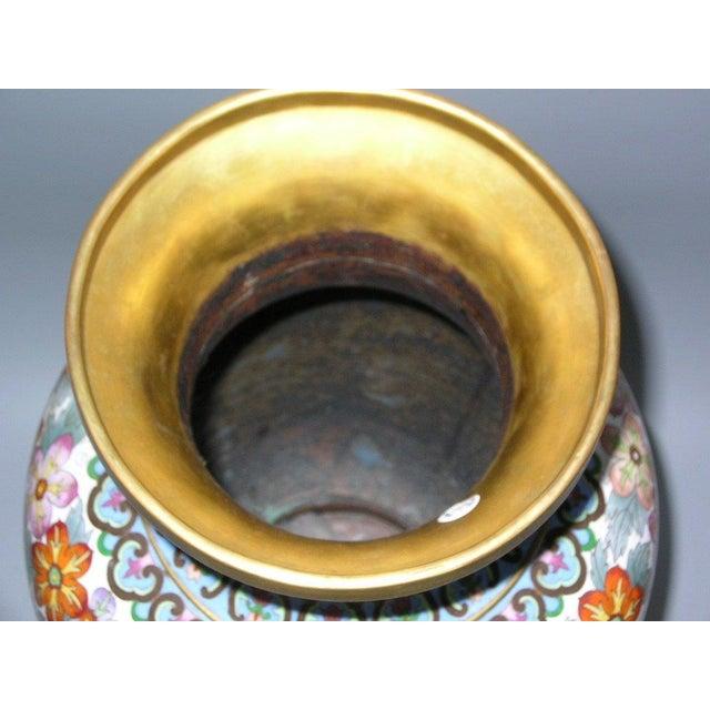 Large Vintage Chinese Millefleur Cloisonne Vase For Sale - Image 9 of 9
