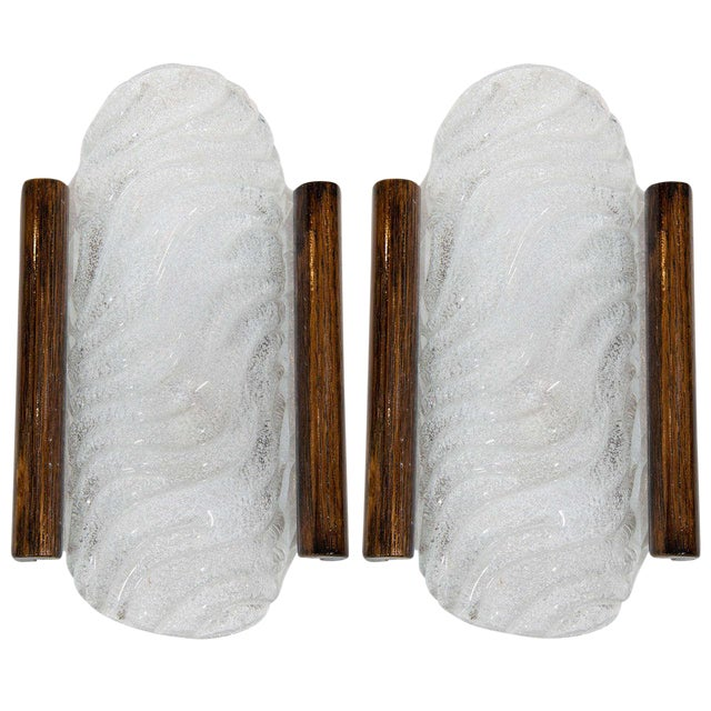 Pair of Mid-Century Murano Glass Sconces with Wood Trim by Kalmar For Sale
