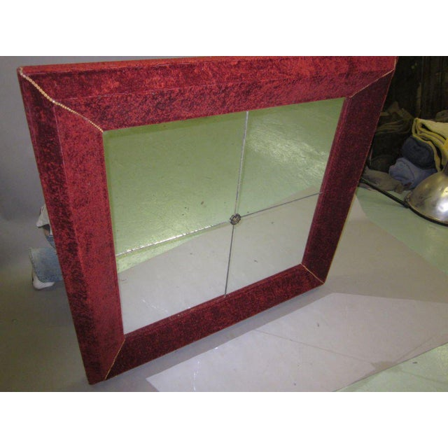 1930s Venetian Antique Velvet Framed Mirror For Sale - Image 5 of 9