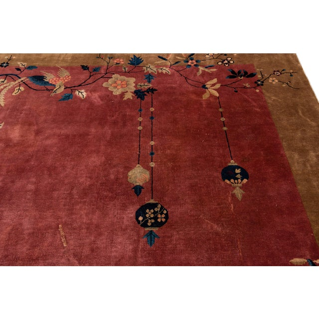Burgundy Early 20th Century Antique Art Deco Chinese Red Wool Rug For Sale - Image 8 of 13