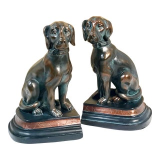 "Late 20th Century ""Bronzed"" Dog Resin Labrador Retriever Bookends - a Pair For Sale"