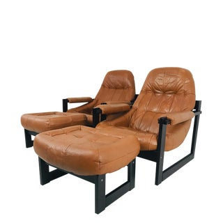 Pair Percival Lafer Leather and Wood Lounge Chairs and Ottomans For Sale