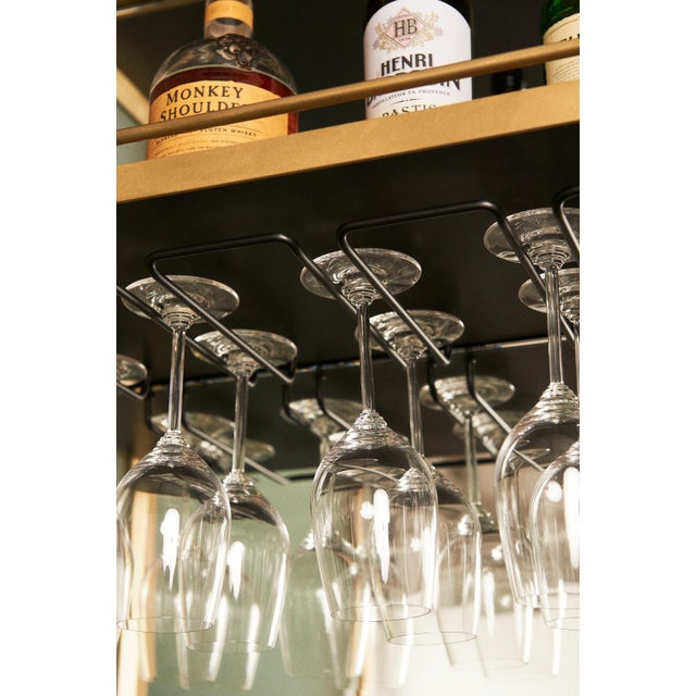 Plano Bar Cabinet in Bronze, Curved Glass Doors, Waxed Leather Bottle Slings For Sale - Image 10 of 12