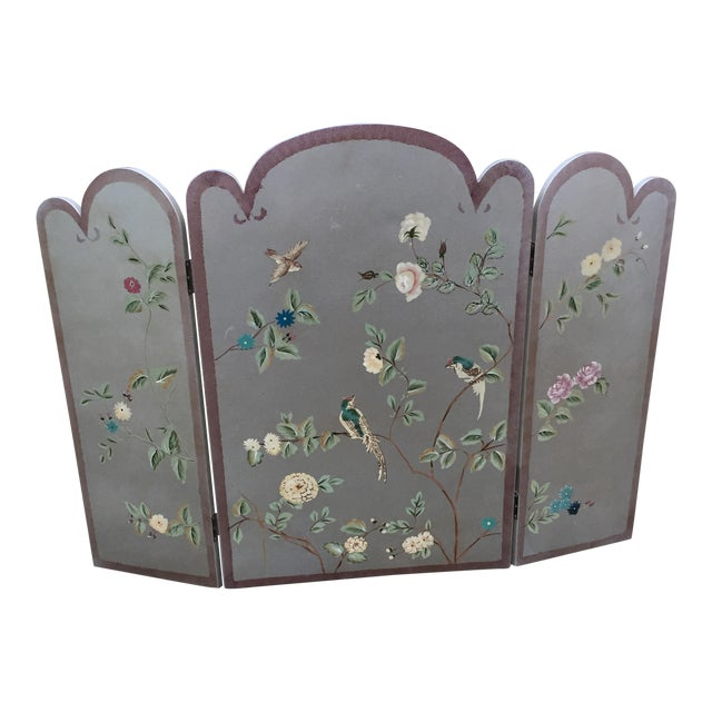 "Silver faux painted Chinoiserie bird fireplace cover folding screen. Front panel measures 24"" wide x 36"" tall x .75"" Each side panel is 33 3/8"" t..."