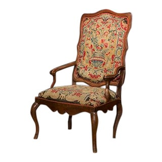 French Needlepoint Elm Armchair For Sale