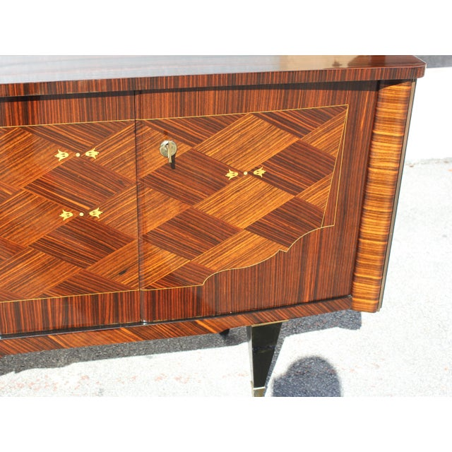 1940s Art Deco Exotic Macassar Ebony Mother-Of-Pearl Sideboard For Sale - Image 9 of 13