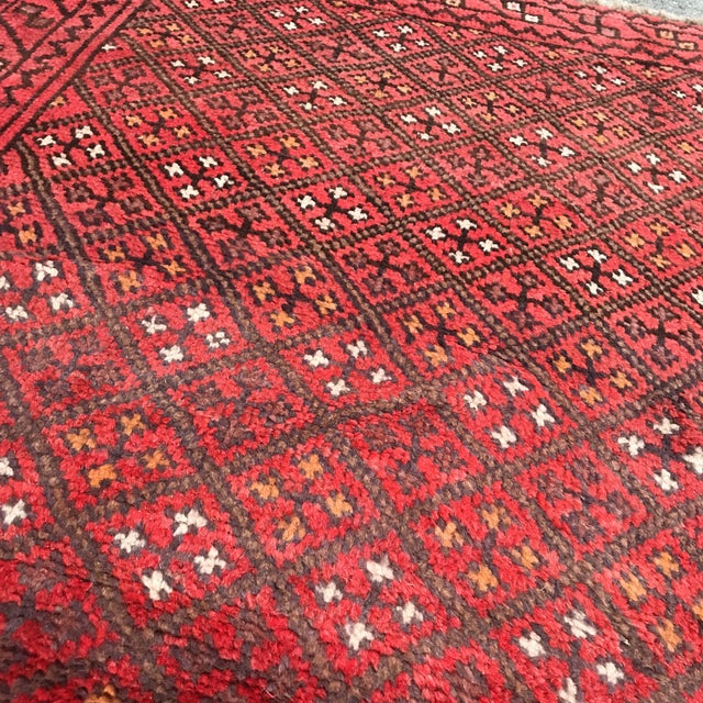 """Patterned Afghan Wool Rug - 3'6"""" X 5'8"""" For Sale - Image 11 of 13"""