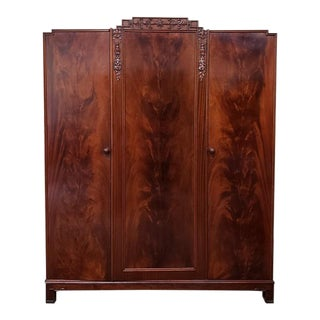 Triple Door Flame Mahogany Armoire C.1920 For Sale