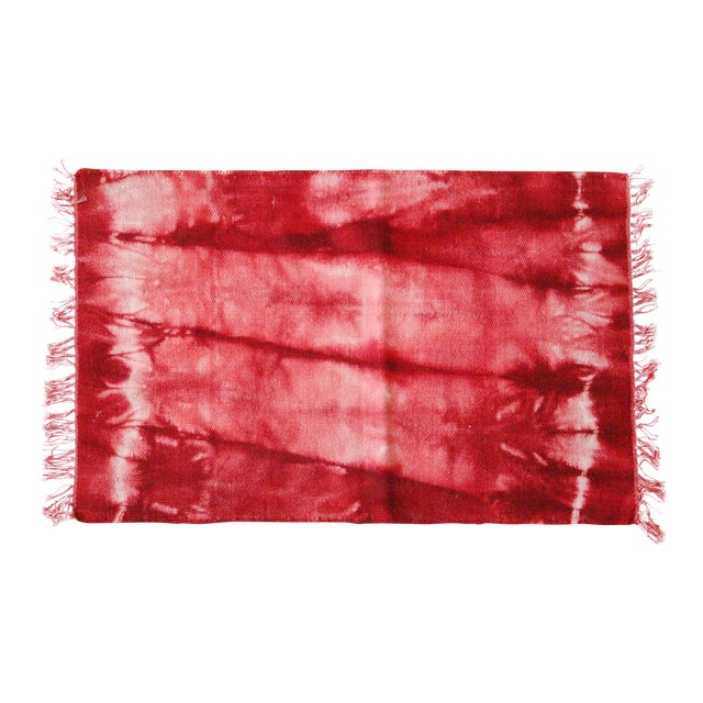 Aelfie Red Tie Dyed Bold Flatwoven Wool Rug - 2'x3' - Image 1 of 4