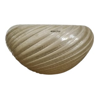 Vintage Mazzega Scalloped Glass Bowl Centerpiece For Sale