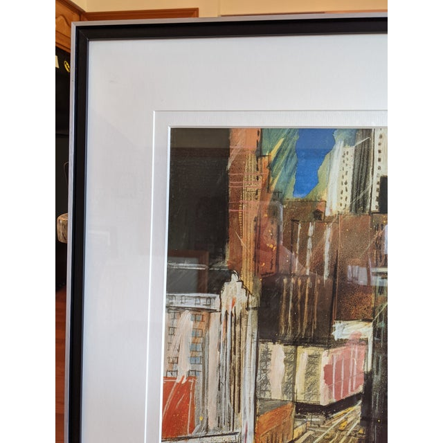 """1980s """"Times Square"""" Cityscape Lithograph, Framed For Sale - Image 10 of 12"""