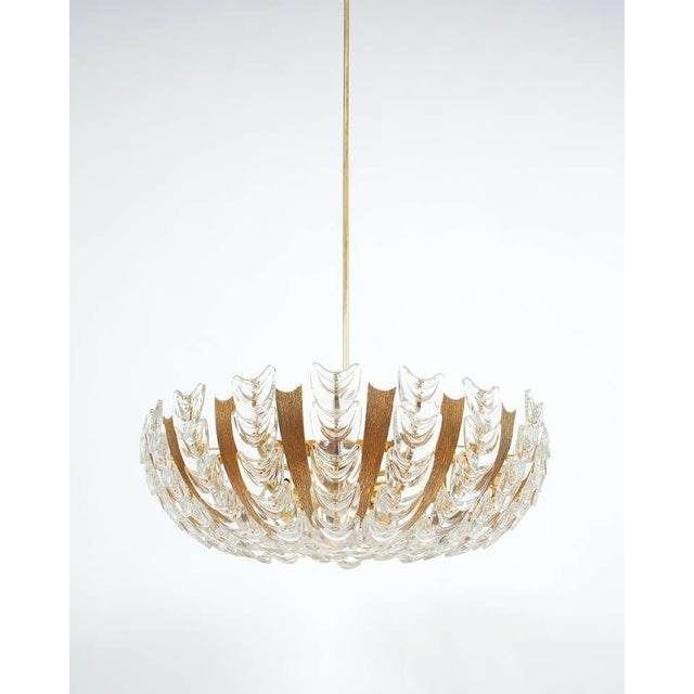Palwa Palwa Large Gold Brass and Glass Chandelier Lamp, 1960 For Sale - Image 4 of 10