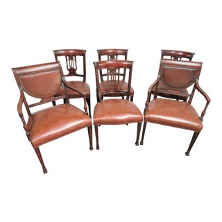 Regency Style Mahogany Carved Leather Dining Chairs-Set of 6 For Sale